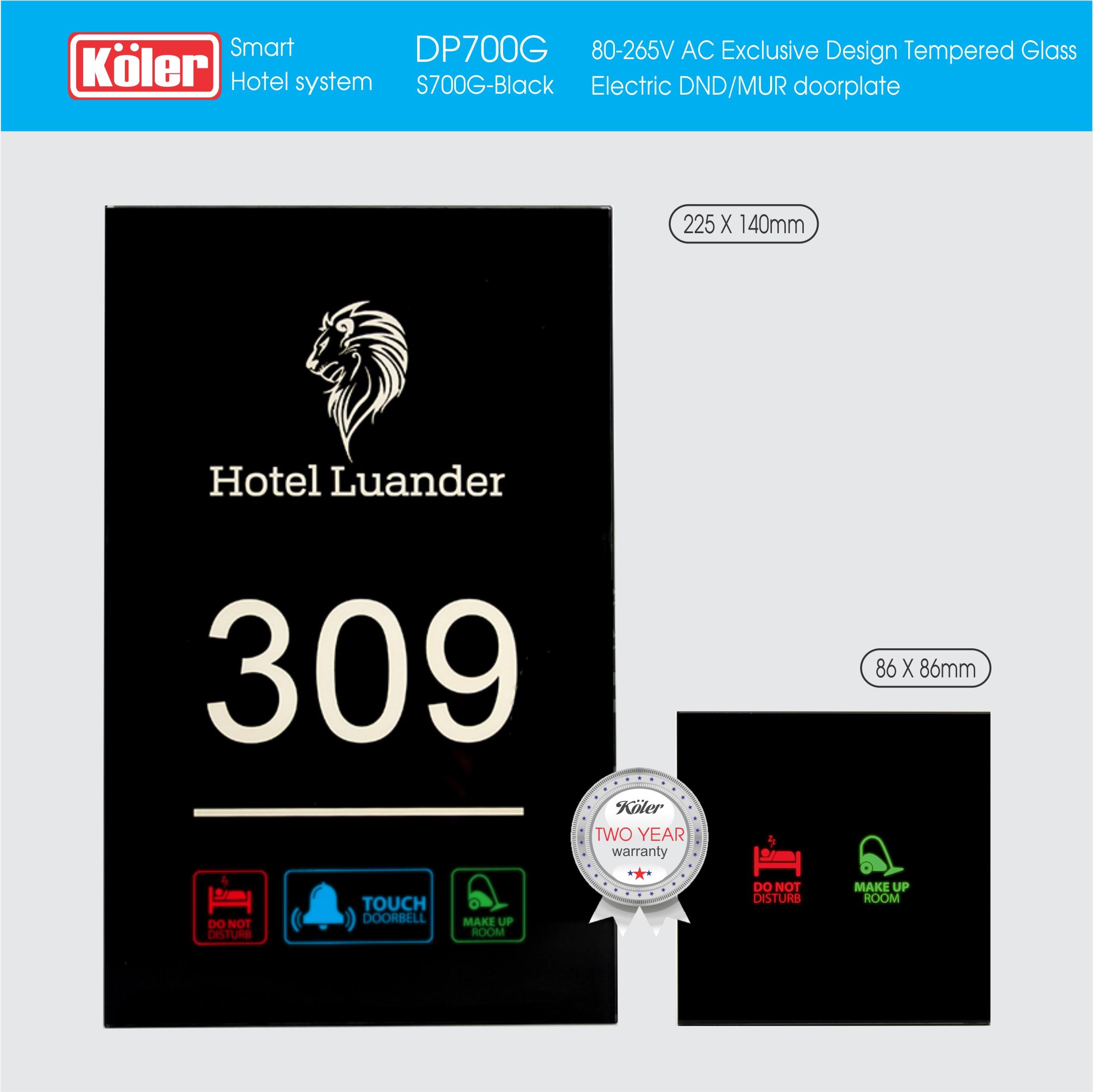 Doorplate Temper Glass LED DP700G Luander